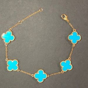 Jewelry - Turquoise S. 925 Silver Clover 18K Gold Bracelet